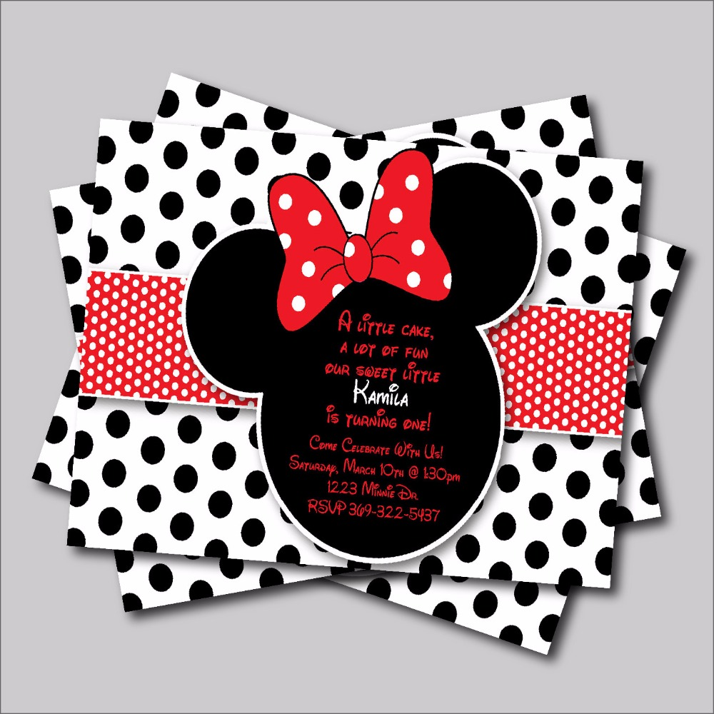20 pcs/lot Minnie Mouse Birthday invitation Mickey Minnie Baby ...