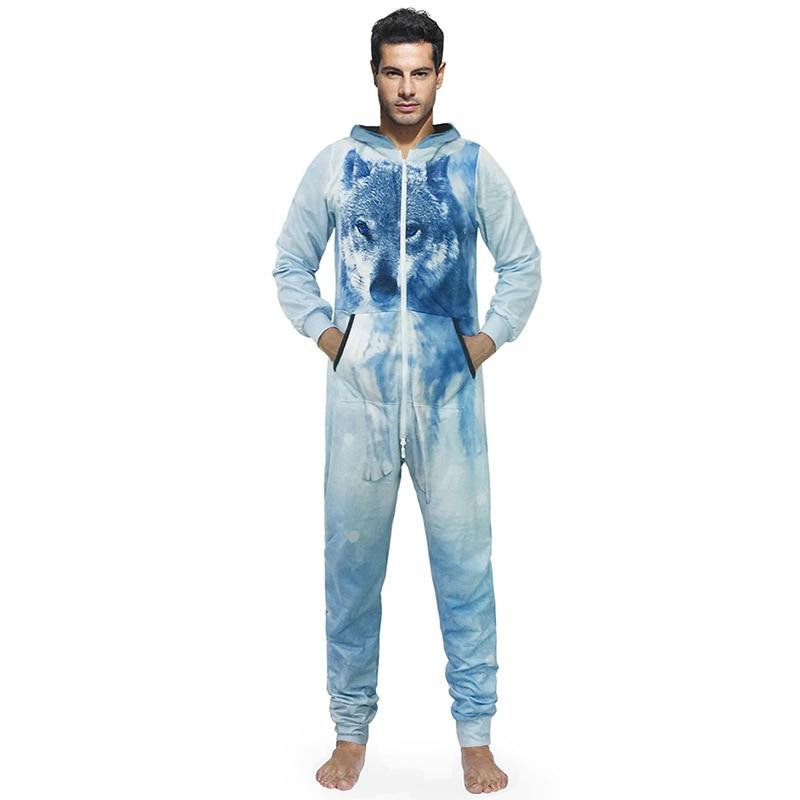 22114d2d7b74 New Arrival Autumn Winter Pajamas Men Onesies Male Jumpsuits Casual Hooded  Zipper Style 3d Print Large