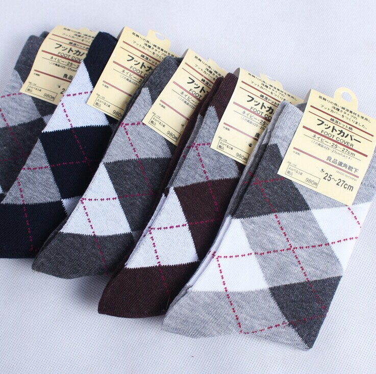 2015 Spring Fashion Men Casual Socks High Quality Socks Multi-Color Argyle Crew Socks Cotton Dress Free Size 8M02469