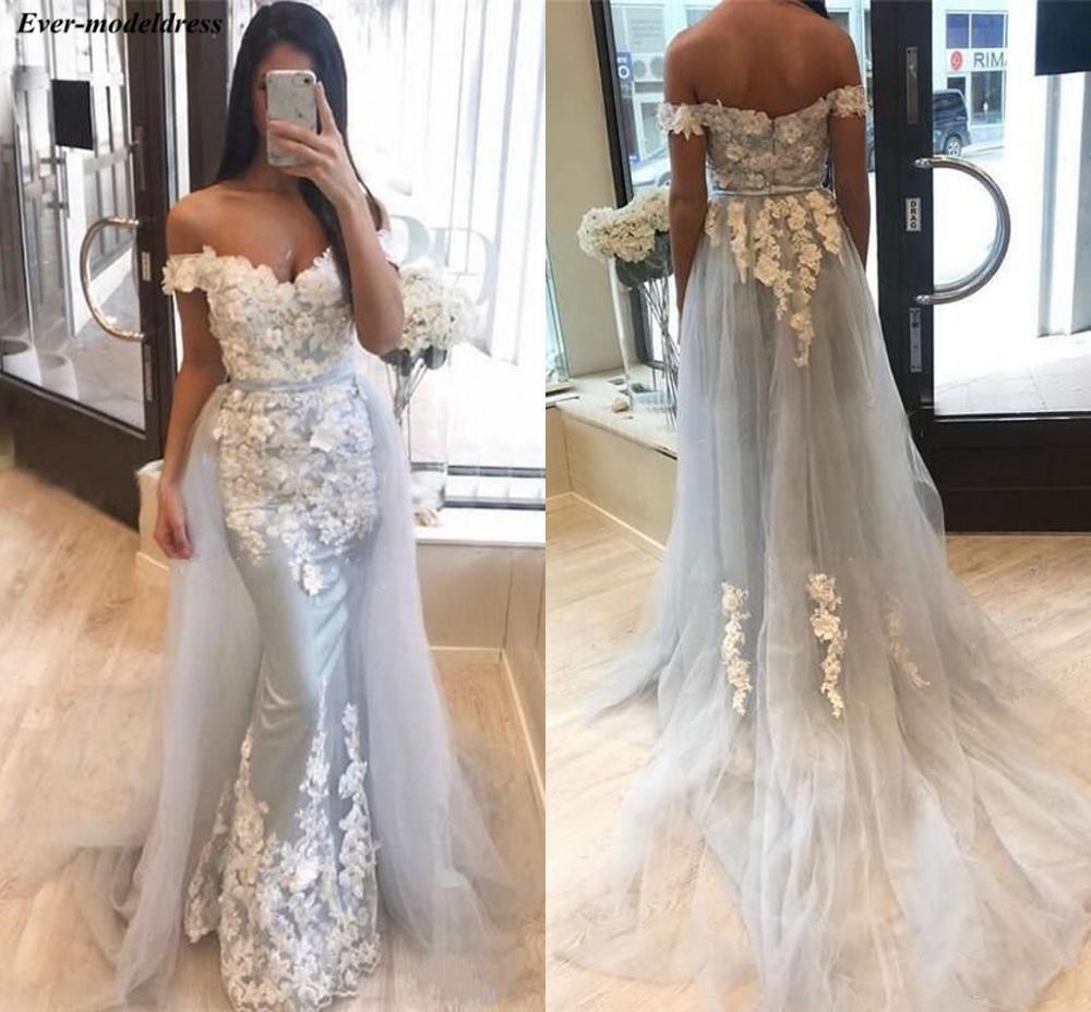 Chic hors de l'épaule robes de soirée 2019 sirène 3D Floral Appliques robes d'occasion spéciale avec détachable Train robe soiree