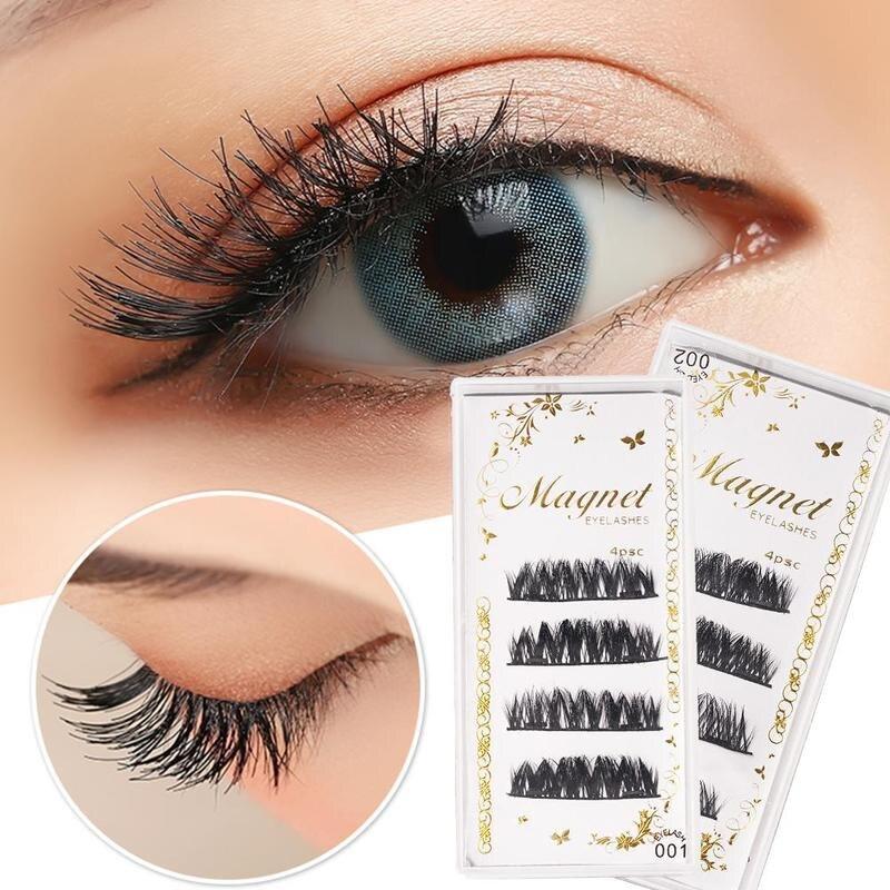 4pcs Double Layer Magnetic False Eyelashes 3D Mink Hair Lashes Makeup Kit Eyelashes Extension Natural Long Thick Beauty Eyes