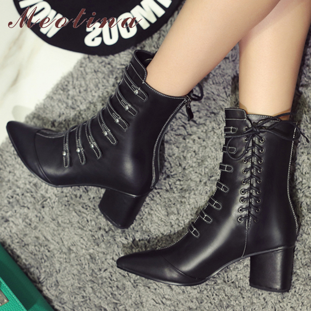 Meotina Winter Real Leather Boots Ankle Boots Women Rivet Pointed Toe Buckle Thick High Heel Punk Boots Zip Ladies Shoes BlackMeotina Winter Real Leather Boots Ankle Boots Women Rivet Pointed Toe Buckle Thick High Heel Punk Boots Zip Ladies Shoes Black