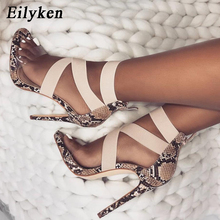 Eilyken Stretch Stoff Frauen Sandalen Gladiator Ankle-Wrap High Heels Schuhe Mode Sommer Damen Partei Pumpt Schuhe Schwarz Apricot(China)