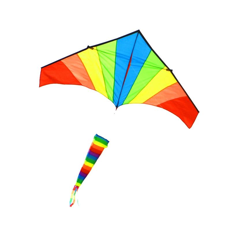 무료 배송 고품질 레인보우 windsock 연 날리기 립스틱 나일론 패브릭 야외 장난감 비행 새 카일 릴 해변 재미