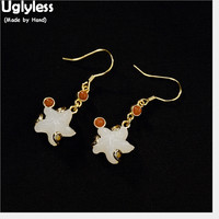 Uglyless Luxury Gold Plated Solid 925 Silver Fine Jewelry for Women Natural White Jade Star Earrings Gemstone Starfish Earrings