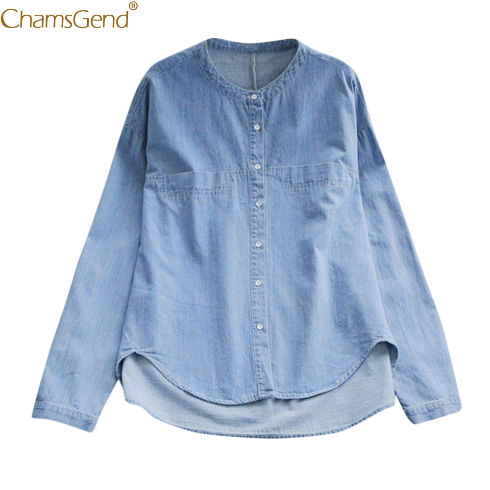 New Fashion Women Winter Button Round Neck Long Sleeve Cowboy   Shirt     Blouse   Polyester O-Neck( Full   Blouse     Shirt   oct29