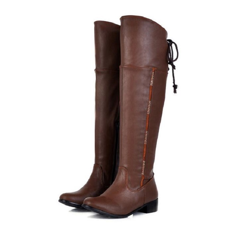 ФОТО Black Brown Classic Flat Riding Boots Women Lace Up Casual Long Knight Boots For Women Spring Autumn Shoes Round Toe SIZE 47