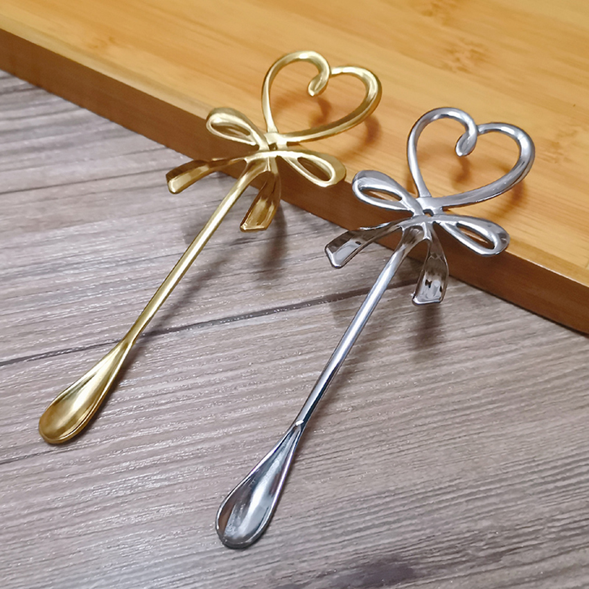 Stainless Steel Bow Knot Heart Shaped Spoon, Sugar Spoon, Coffee, Cake, Tea Spoon, Dessert, Ice Cream Spoon - Gold, Silver