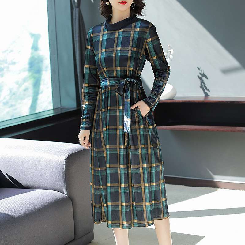 Plaid velvet stand neck loose a line long dress 2018 new full sleeve women autumn party