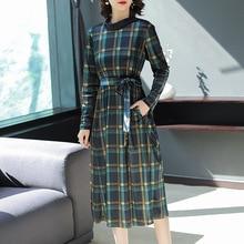Plaid velvet stand neck loose a line long dress 2018 new full sleeve women autumn party dress недорого