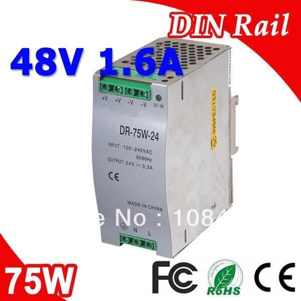 Dr-75-48 LED sortie unique Rail Din alimentations à découpage transformateur DC 48 V 1.6A sortie SMPS