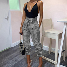 Missufe Casual Lace Up Plaid Pants High Waist Elastic Feet Trousers Female Office Ladies Sexy Spring Summer Pocket Pants Women цена 2017