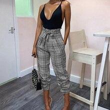 цена на Missufe Casual Lace Up Plaid Pants High Waist Elastic Feet Trousers Female Office Ladies Sexy Spring Summer Pocket Pants Women