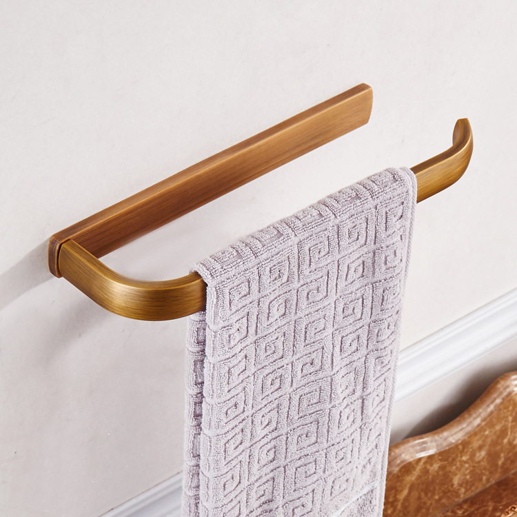 Polished Brass Bathroom Towel Bars: Golden Polished Bars Wall Mounted Single Towel Rack Bar