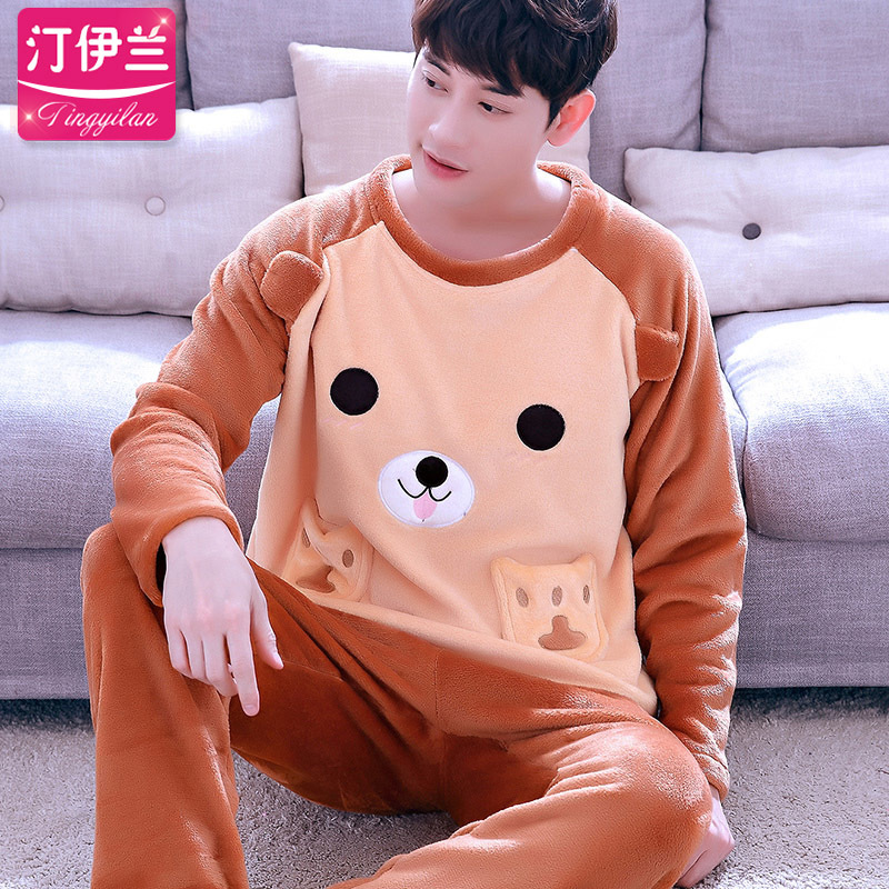 41d26e289 Dropwow Sleep Winter Warm Men Pajama Sets Coral Fleece Long Sleeves ...