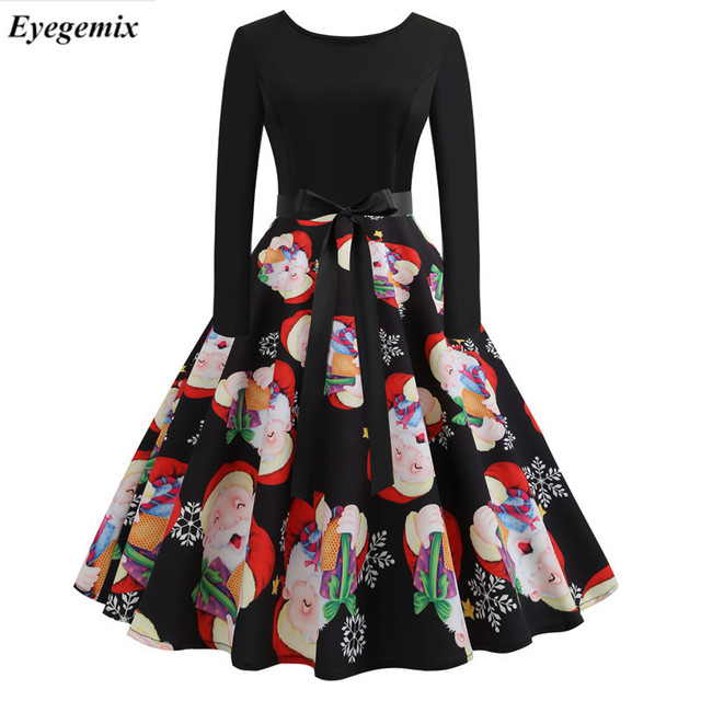 f1088f111da4d Winter Christmas Dresses Women 50S 60S Vintage Robe Swing Pinup Elegant  Party Dress Long Sleeve Casual Plus Size Print Black