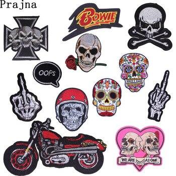 Prajna, Parches de planchado con calavera rosa para motociclista, Parches bordados para ropa, costura en bolsas de mezclilla, parche DIY para accesorios E