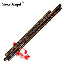 Un conjunto De Bambú Chino Xiao Flauta de Bambú Púrpura Con Nudo Chino Y la Bolsa