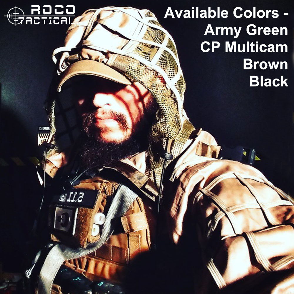 ROCOTACTICAL Tactical Sniper Ghillie Hood Camouflage Hunting Ghillie Suit Foundation for Airsoft Paintball Wargame CP Army Green ghost skull full face mask cosplay balaclava paintball cs hood wargame airsoft hunting army tactical masks