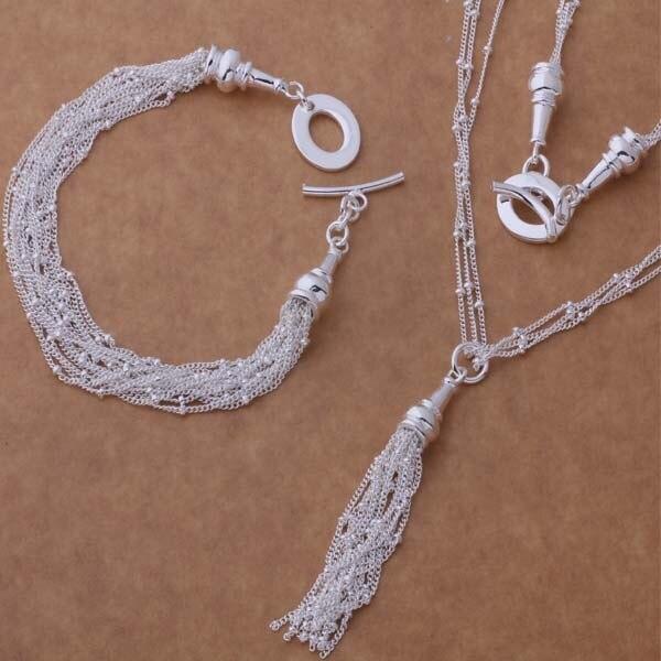 AS274 Hot 925 sterling silver Jewelry Sets Bracelet 054 + Necklace 537 /akwajcda