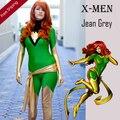 Adulto X-Men Jean Grey Phoenix traje verde y oro Lycra brillante de Zentai Superhero fiesta de Halloween Cosplay traje