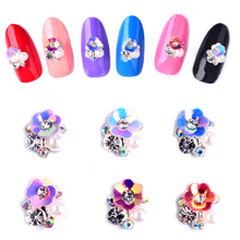 10pcs New Charm Flowers font b Nail b font Art Rhinestone Decorations Glitter Alloy DIY font