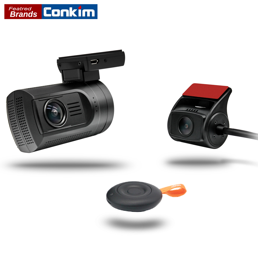 Conkim Dash Cam Mini 0906 Car DVR With 2 Cameras GPS Video Recorder Registrar Pro Capacitor Dual Lens Car Camera Dashcam +32G TF