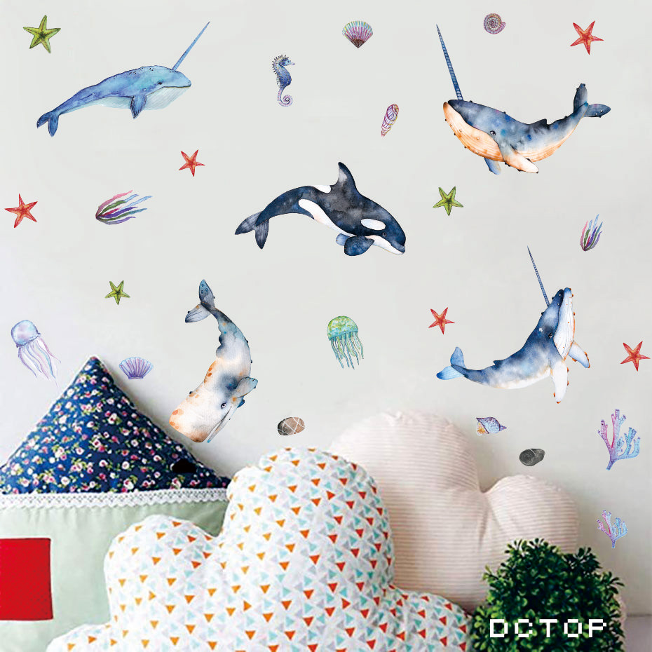 Beautiful Whale with Angle Undersea Wall stickers Room Decor Art Vinyls Decals for Children Kids Bedroom Living Room Home Mural (7)