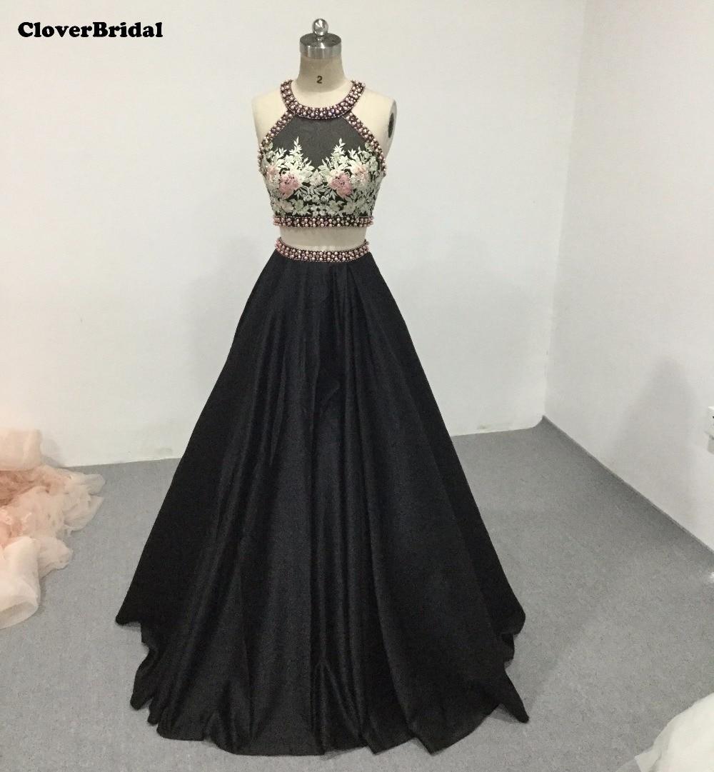 Halter crop top black satin embroidery 2 pieces vestidos de dress for graduation 2017 pearls beading crystals keyhole back