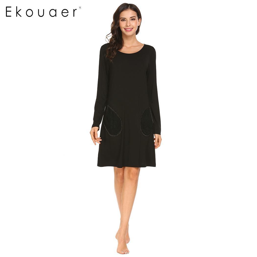 Ekouaer Women Sleepwear Dress Nighties Long Sleeve O-Neck Lace Patchwork Loose Casual   Nightgown   Chemise   Sleepshirt   Home Clothes