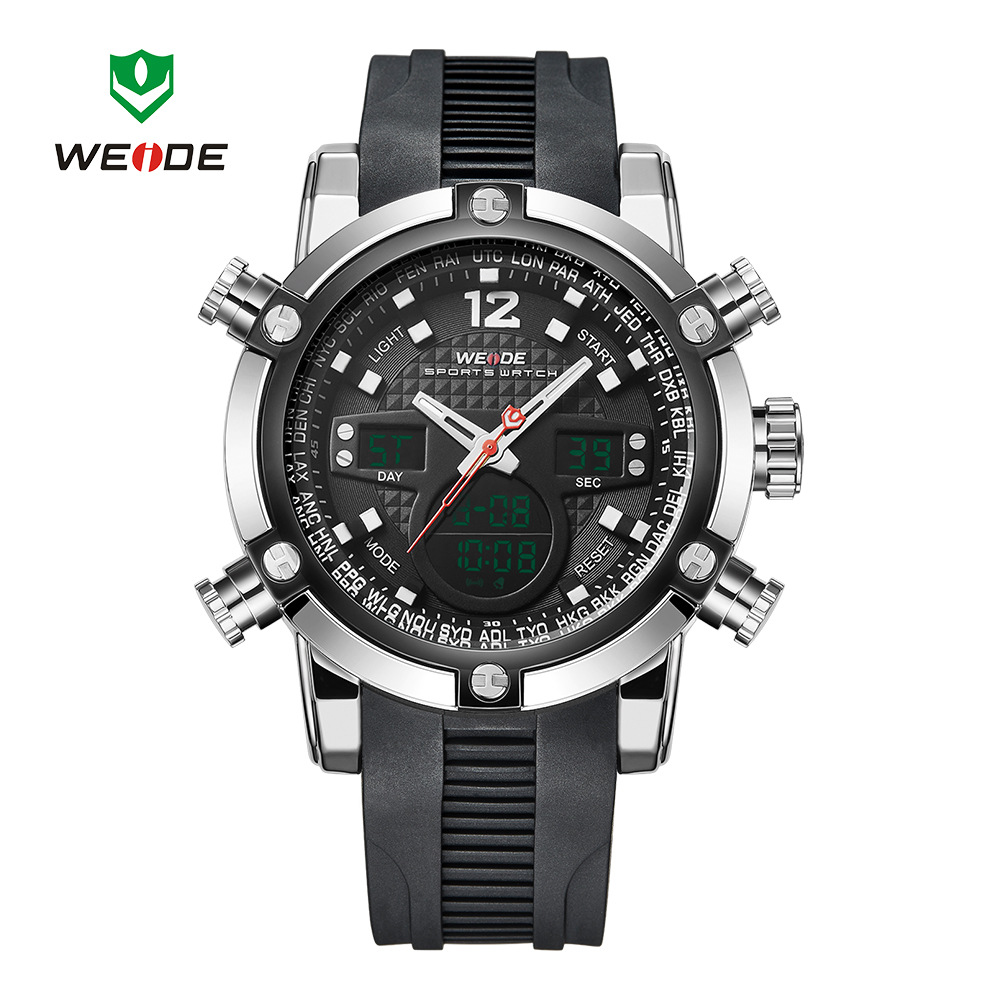 Casual Brand WEIDE Sports Watch Mens Black Digital Quartz Watch PU Rubber Band LED Date Day Dual Time Wristwatch Orologio Uomo цена