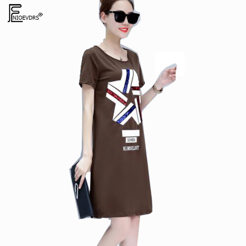 7a703349ca72 Casual Dresses New Hot Sales Women Fashion 2018 Summer Short Sleeve Printed  Cute Sweet Coffee White Black Letter T Shirt Dress