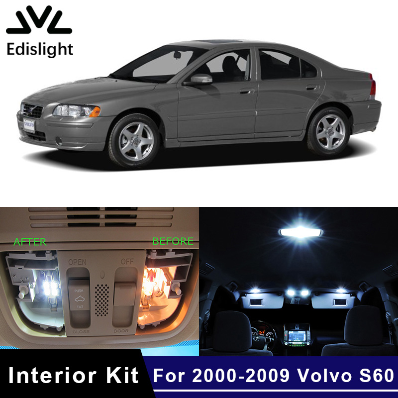 Edislight 19Pcs No Error White Canbus LED Lamp Car Bulbs Interior Package Kit For 2001-2009 Volvo S60 Map Dome Door Plate Light