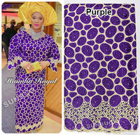 Purple Gold Handcut Organza Voile Lace African Lace Fabric With Metallic Lurex And Holes 9083