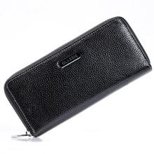 Fashion Damen Herren Schwarz Echte Echtem Leder Reißverschluss Handtasche Brieftasche Langen Tag Clutches Frau Dame Geldbörse Kartenhalter taschen