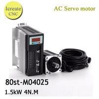 1SET Servo System Kit 80ST M04025 AC Servo Motor 4N M 1KW Motor Driver CNC Servo