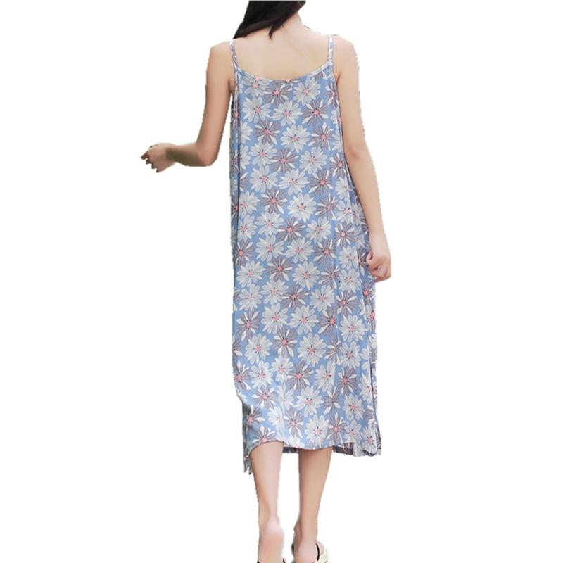 d8ac5c629cde Summer Sleeveless Strappy Midi Dress 100% Cotton Women Beach Dress Holiday  Slip Sundress Side Slits Plus Size Long Floral Dress-in Dresses from Women s  ...