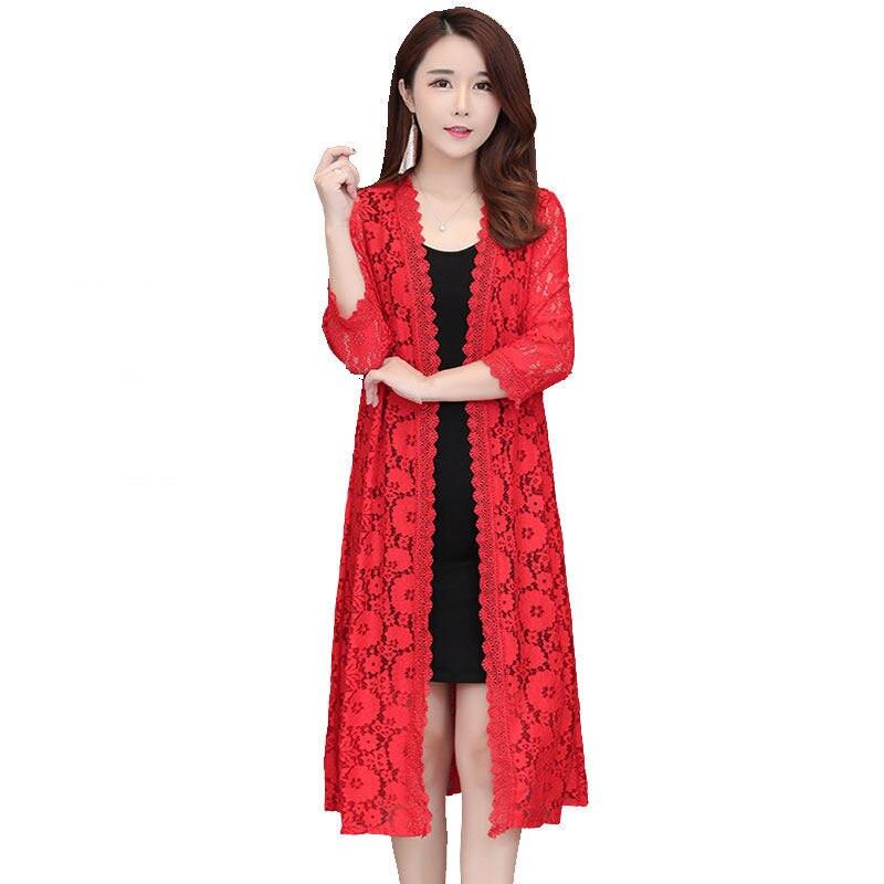 White Long Lace Kimono Cardigan   Blouse   Women Plus Size 3XL Elegant   Blouse     Shirt   Women Beach Sun-Protective Cardigan Female Q1154