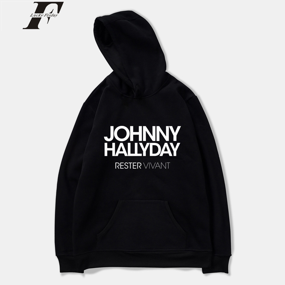 LUCKYFRIDAYF 2018 Johnny Hallyday Rock Star Spring Mens sweatshirts hoodie Hooded Pullover Harajuku Oversized Hoodie Print