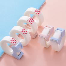 2Pcs/set Transparent Write-on Tape with Mini Tape Cutter Dispenser for Student Adhesive Correction Tape Cute Decorative Supplies