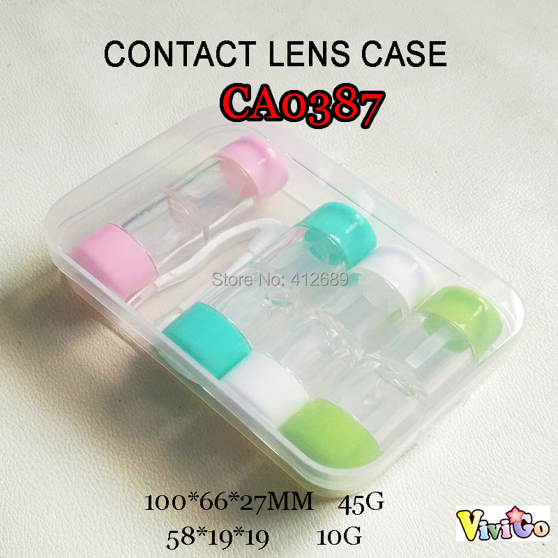 CA0387 colorful caps tube style 4pcs contat lens case with PP saving box