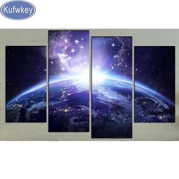 "Cross Stitch diamond painting full square display 5d Diamond Embroidery sale""Earth""5d Diamond Mosaic kit 4pcs Dinning Room decor"