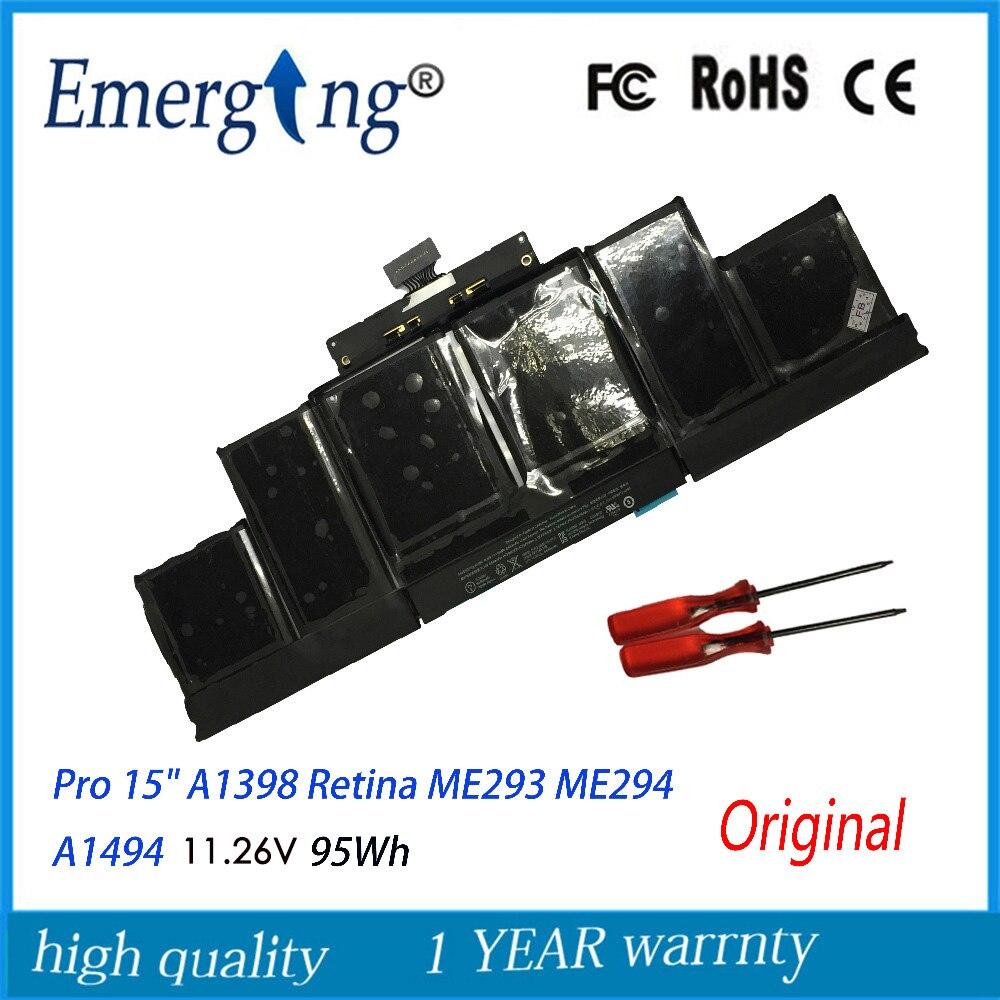 """11.26 V 95Wh véritable Original nouveau A1494 batterie d'ordinateur portable pour Apple Macbook Pro 15 """"A1398 Retina fin 2013 mi 2014 ME293 avec outil"""