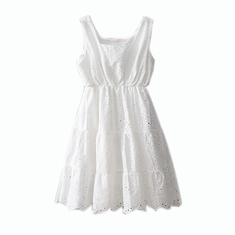 De Broderie Style Courtes Nouvelle Blanc Gratuite Manches Mode Robes 2018 Japon Dentelle D'été Qualité Livraison Robe Coton Sans Haute 5CUHnSz