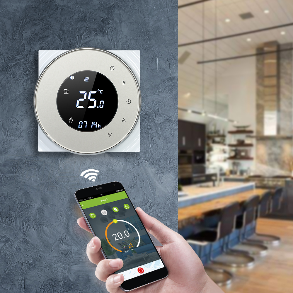 Wifi Smart Thermostat Programmable Water Gas Boiler Thermostat Voice Control Thermostat With Touchscreen LCD Backlight