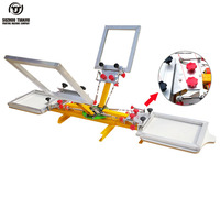 Newly 4 Color 2 Station T Shirts Screen Printing Machine With Micro Registration