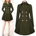 2017 Autumn New Plus Size Womens Coat Commuter Office OL Slim Fashion Ruffles Windbreaker Double Breasted Trench Q1536