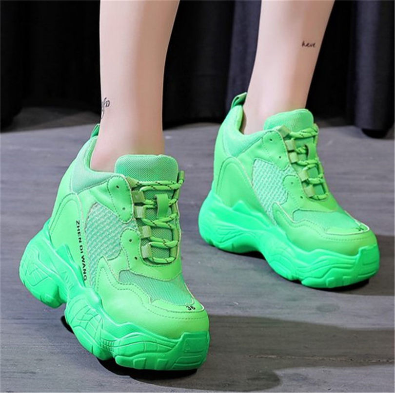 NAYIDUYUN Women Platform Wedges Fashion Sneakers Chunky High Heel Sport Ankle Boots Trainers Creepers Casual Shoes in Ankle Boots from Shoes