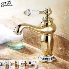 Golden Finish Bathroom Basin Faucet Single Handle Bathroom Sink Mixer Faucet Crane Tap Antique Brass Hot Cold Water Deck Mounted