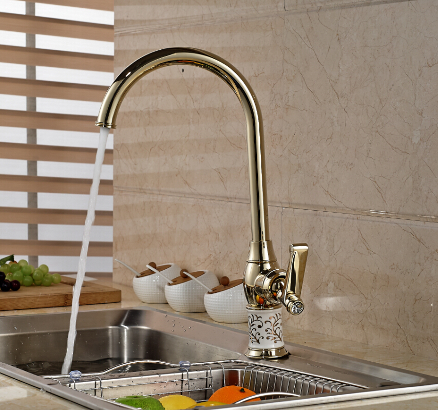 Modern Rose Golden Kitchen Faucet Swivel Spout Ceramic Style Sink Mixer Tap Deck Mounted golden swivel spout deck mount bathroom kitchen faucet 1 hole sink mixer tap new